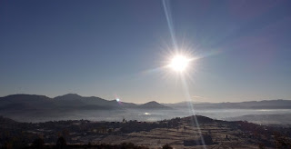 The sun rises over the Greek Mountains