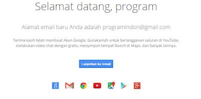 Akun Gmail Berhasil Dibuat