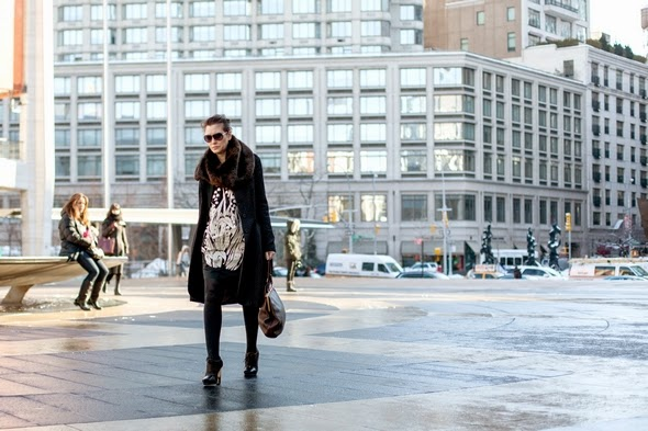 new york winter street style winter fashion shift dress large coat tights and heels the stylepreneur