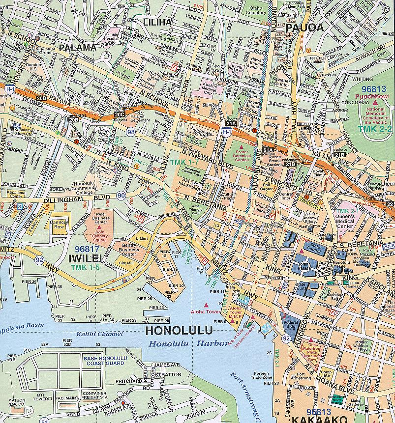 Honolulu Map  Free Printable Maps
