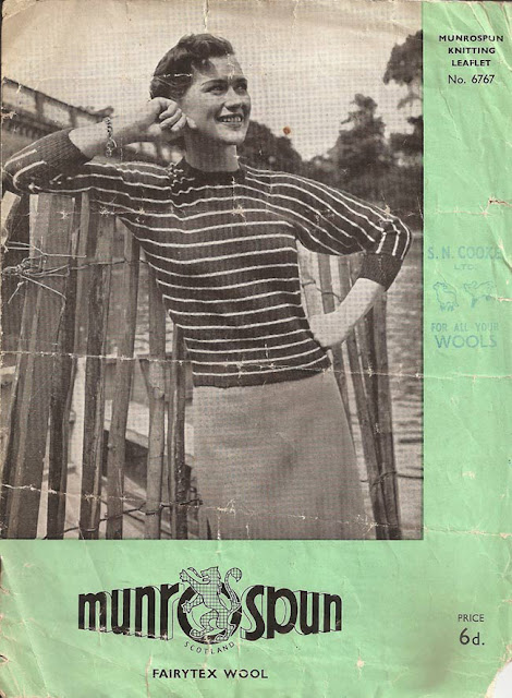 1950's Knitting - MunroSpun Striped Jumper