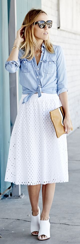 White Eyelet Skirt by Damsel In Dior