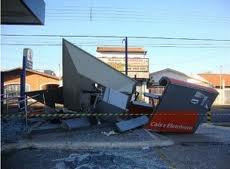 atm machine blasted open laying in street in santos sp brazil