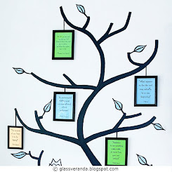 DIY: Malt tre, ekte bilderammer - Painted tree, real photo frames