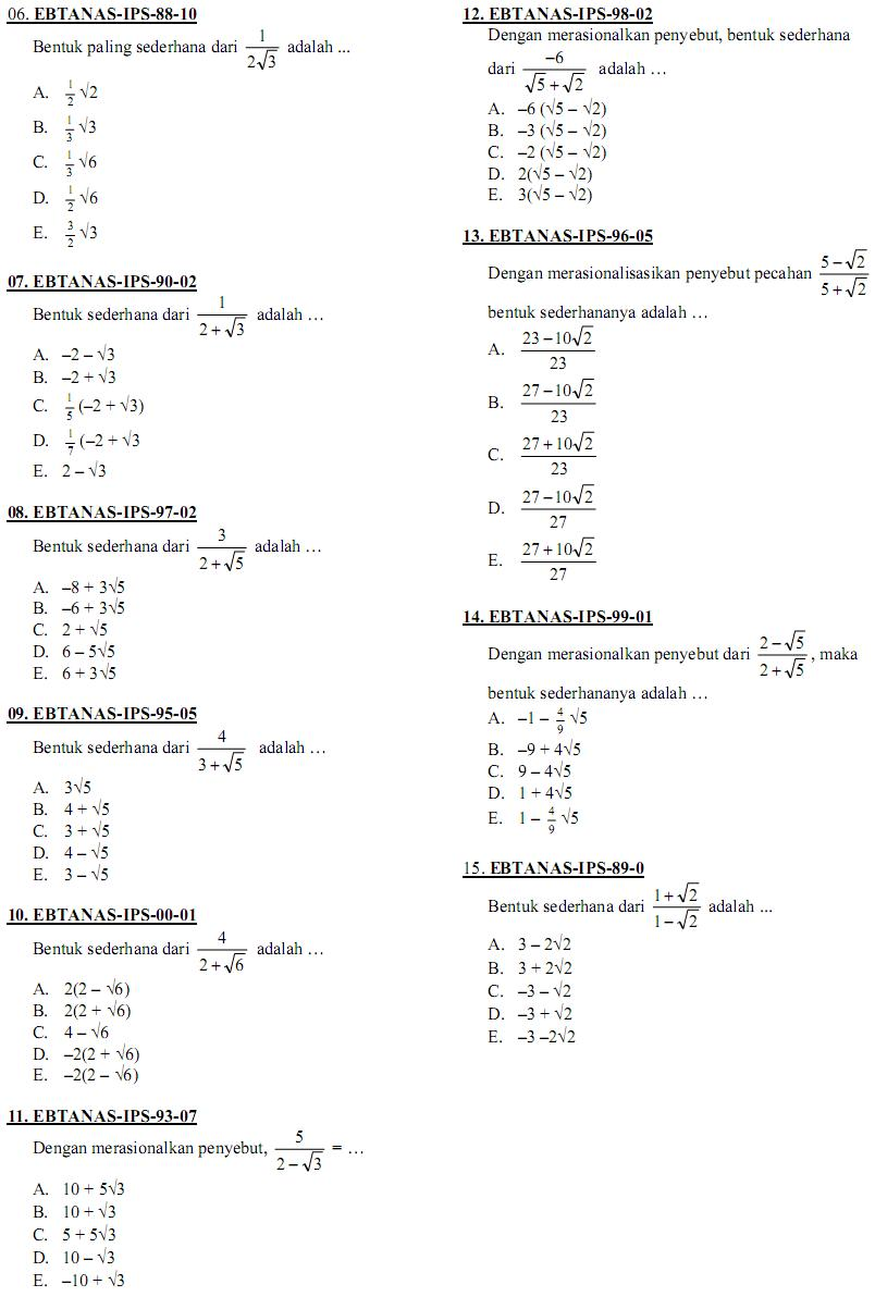 Matematika Di Sma Soal Ujian Nasional Matematika Ips Sma Ma Rangkuman
