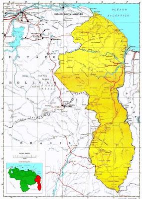 Mapa de la Guayana Esequiba, zona de reclamacion Venezolana