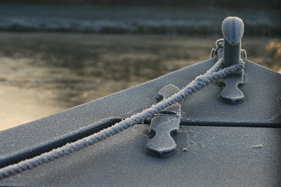 Frozen bow of Coolcanals boat