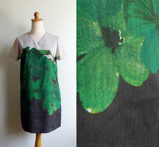 vintage digital print floral dress