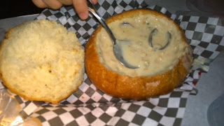 Clam Chowder in Bread Bowl with Clam Shells
