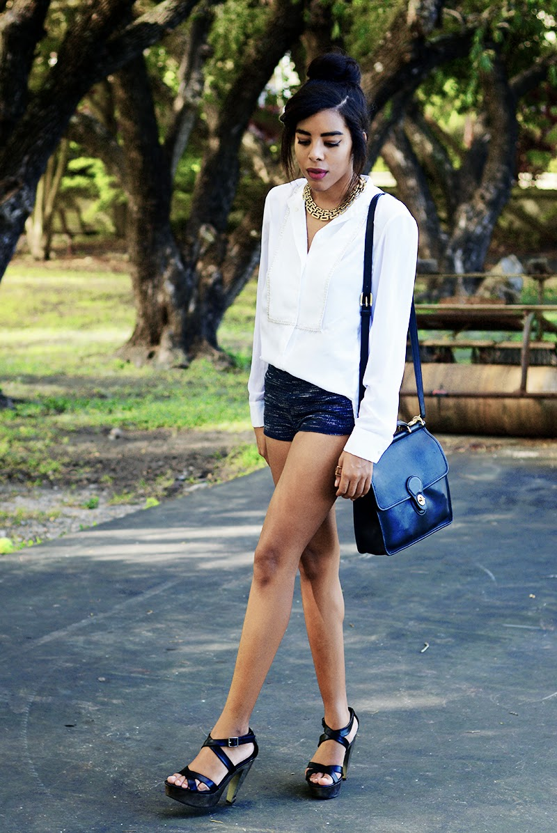 Miami fashion blogger Anais Alexandre of Down to Stars in a Phillip Lim for Target dress top with H&M shorts and Mossimo heels with a Momacat braided collar necklace