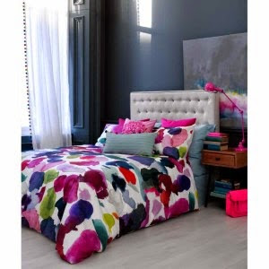 BlueBellGray Abstract Watercolour Floral Duvet Set
