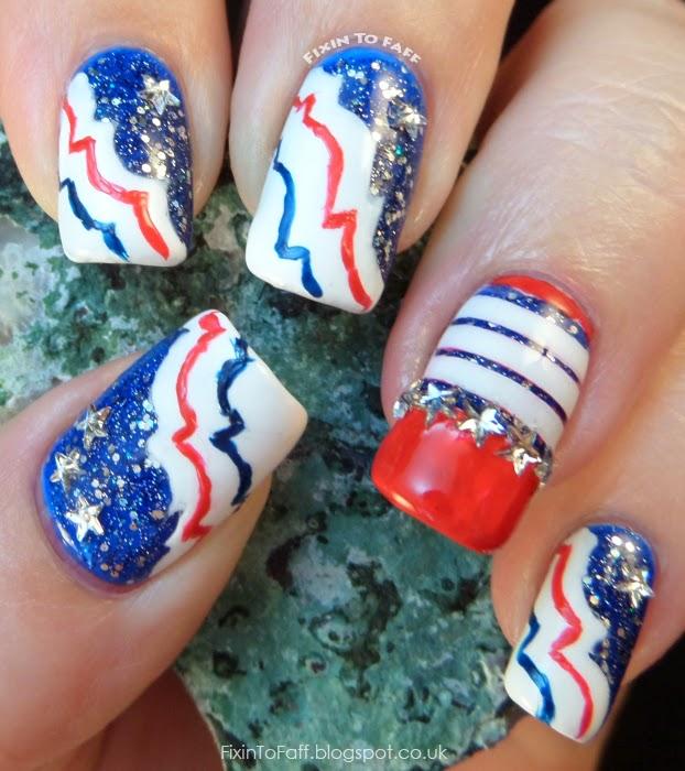 Patriotic Nail Art red white blue stars stripes