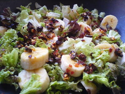 Banana & Lettuce Salad with a Chilli-Chocolate Dressing