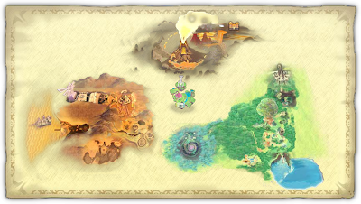 The map showing off the four main areas in Skyward Sword.