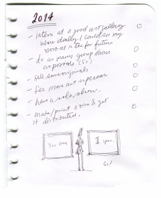 2013 resolutions list in scanned sketchbook page