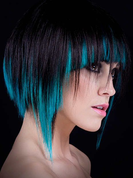 black hair color - highlighting
