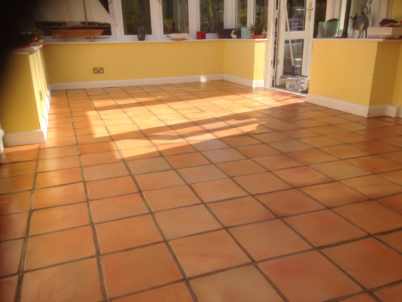Terracotta Polishing In The Conservatory Stone Floor Cleaning