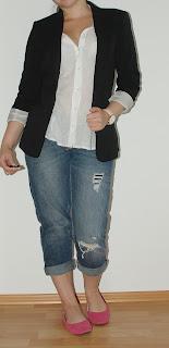 [Fashion] How to Style a Boyfriend Jeans - White Blouse, Blazer & Pink Shoes!