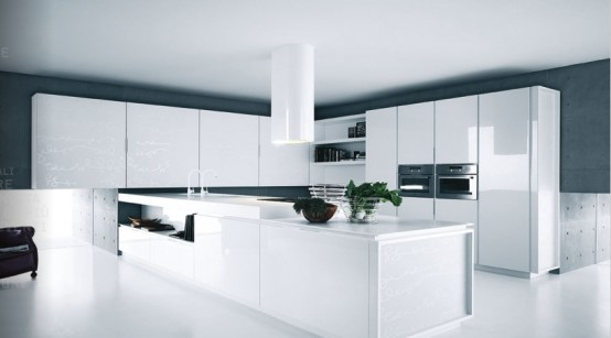Modern Pure White Kitchen Furniture Design