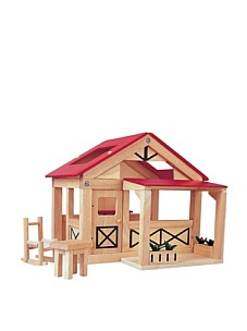 MyHabit: Save Up to 60% off Dollhouses + Decor by Plan Toys: Farmhouse - Includes a table, rocking chair, and 2 garden boxes; inside is a fireplace with 2 cooking pots; movable front porch