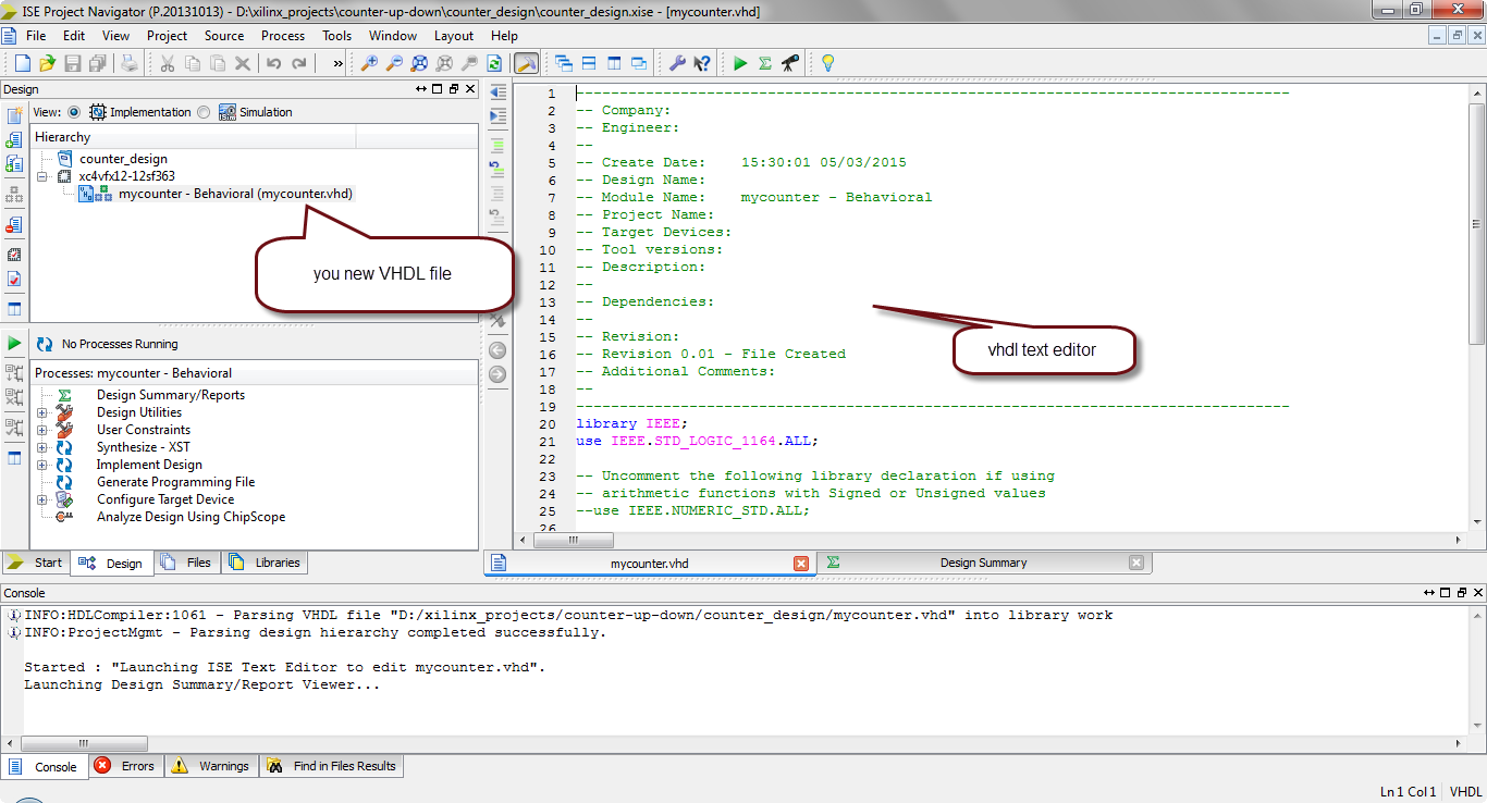 how to simulate vhdl code in xilinx?9