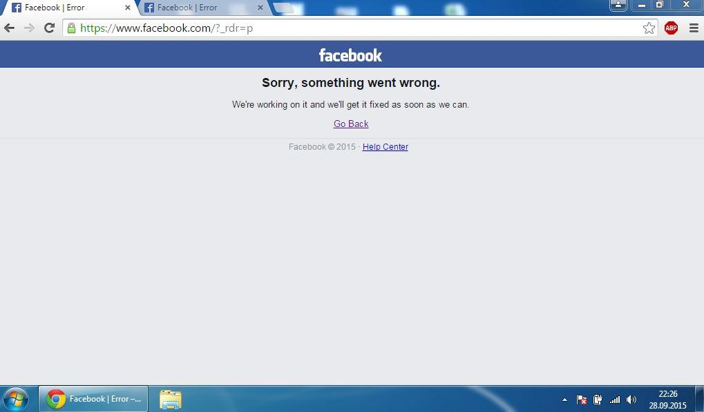eroare facebook a cazut