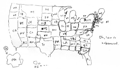 Hand=drawn map of the U.S.