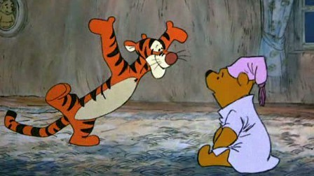 Pooh watching Tigger Many Adventures of WInnie the Pooh 1977 animatedfilmreviews.filminspector.com