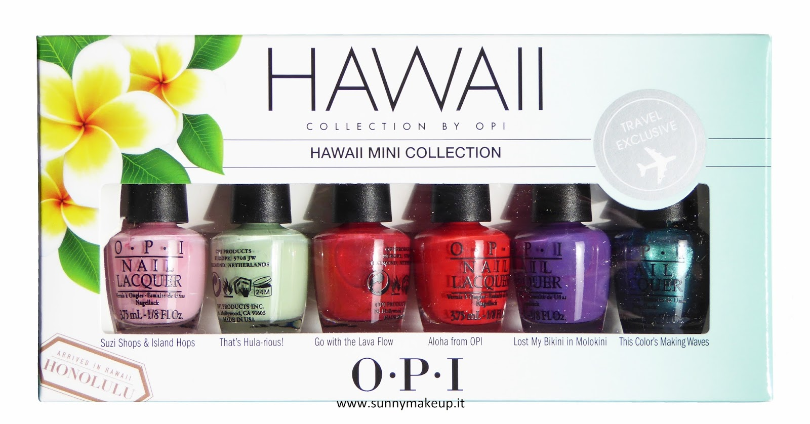 OPI - Hawaii Collection. Collezione P/E 2015. Gli smalti: Suzi Shops & Island Hops, That's Hula-rious!, Go With The Lava Flow, Aloha From OPI, Lost My Bikini In Molokini, This Color's Making Waves.
