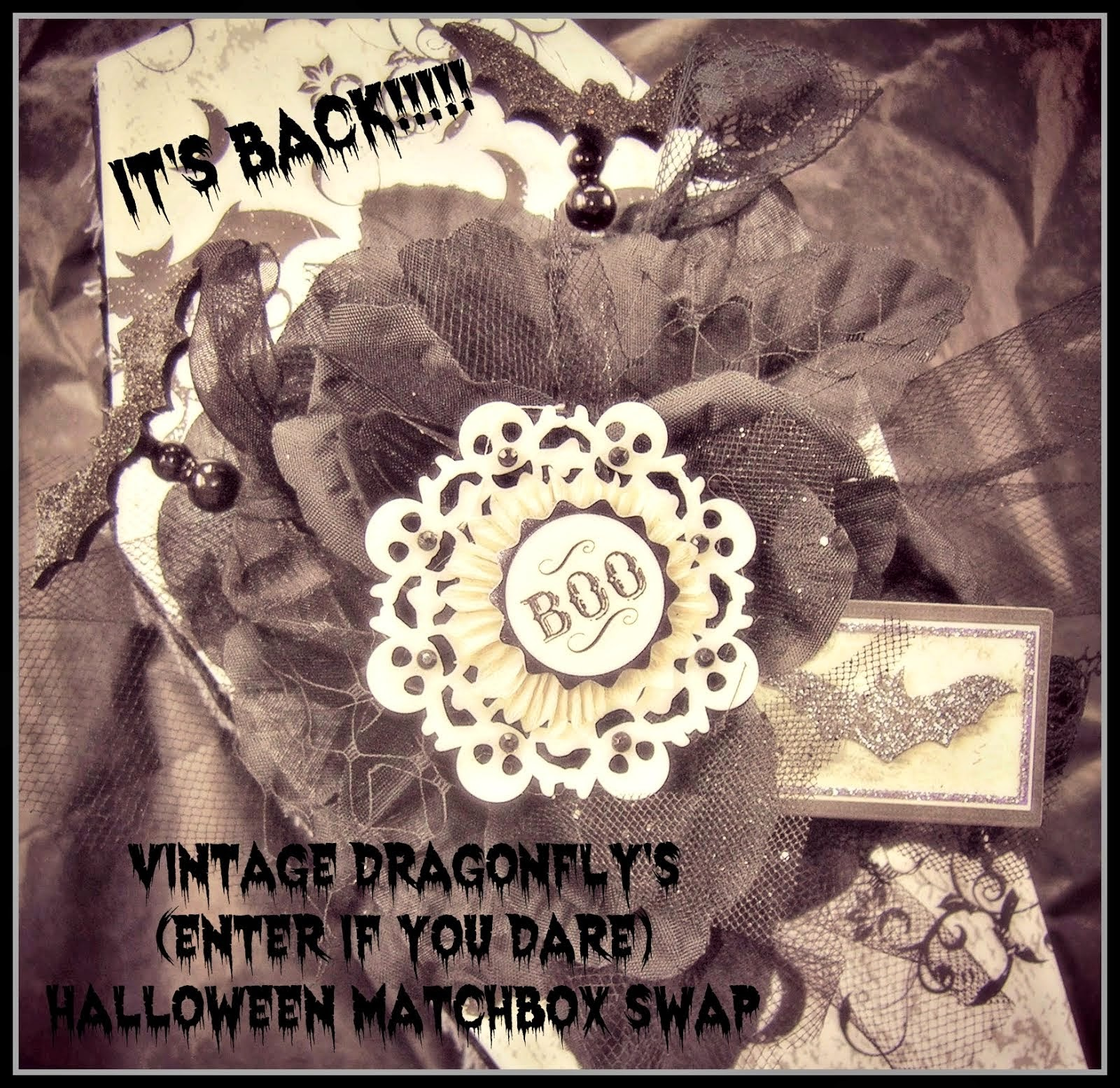 2014 VintageDragon Fly Halloween Altered Matchbox Swap