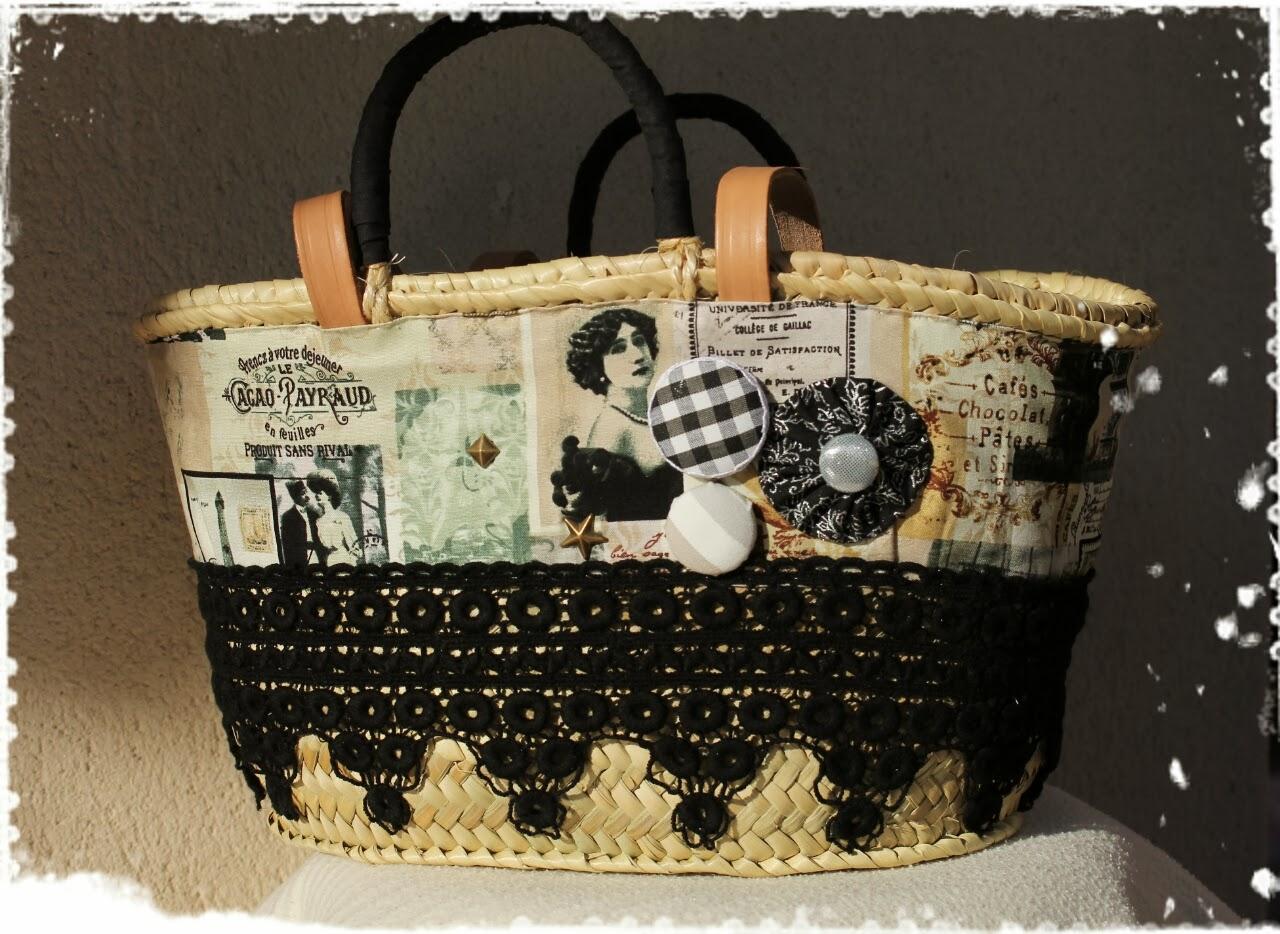 Elcosturerodecarla capazo de mimbre tama o bolso decorado - Adornar cestas de mimbre ...