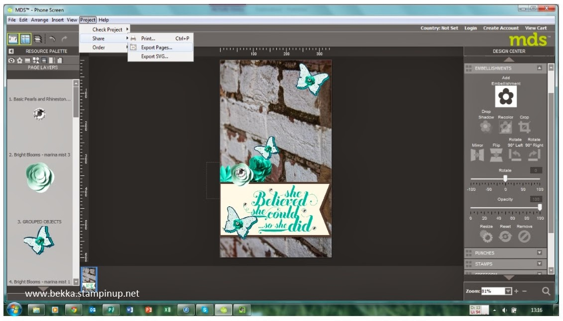 How to create a custom screen saver for your phone using MDS from Stampin' Up! Save your MDS project as a jpeg