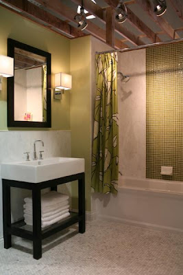 Bathroom Sinks  Small Spaces on Love The Sconces In This One  And The Open Sink Console