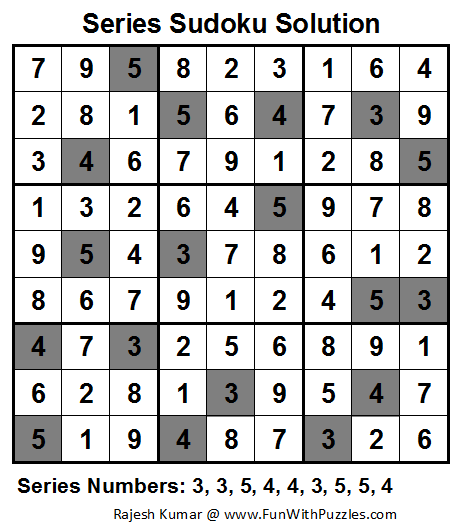Series Sudoku (Fun With Sudoku #18) Solution