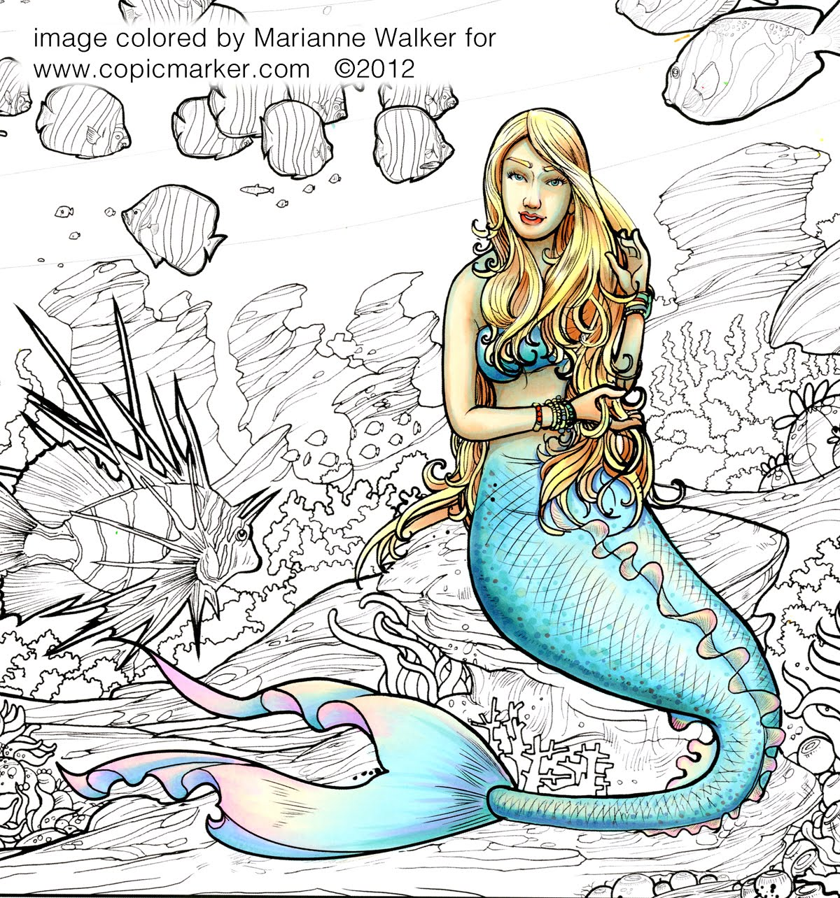 Line Art Posters : I like markers line art posters mermaid
