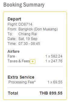 泰國鳥航 NokAir曼谷飛清萊單程 THB830起: 連稅及手續費THB900 (HK$199 / TWD 812)