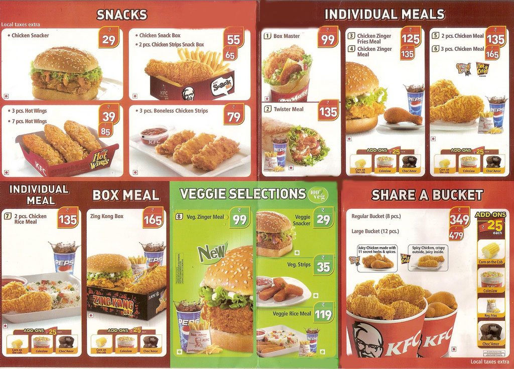 Search Results For Menu Of Kfc With Price List