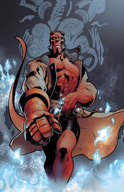 Dibujo de Hellboy preparado para disparar