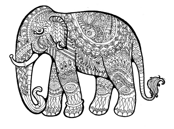 Elephant Design Coloring Pages