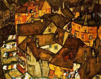 Egon Schiele - Krunau,Crescent of houses,1915