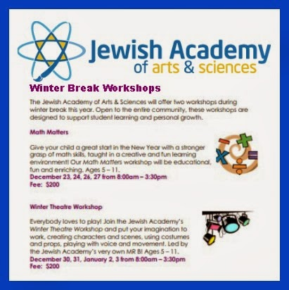 Jewish Academy Winter Workshops