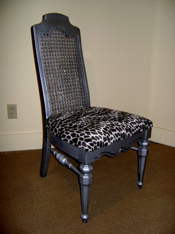 Pewter & animal print chair