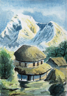 Rural House Landscape in Watercolor