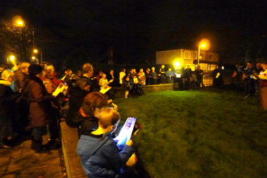 Photo of the participants at the Wrose Christmas Lights switch on.