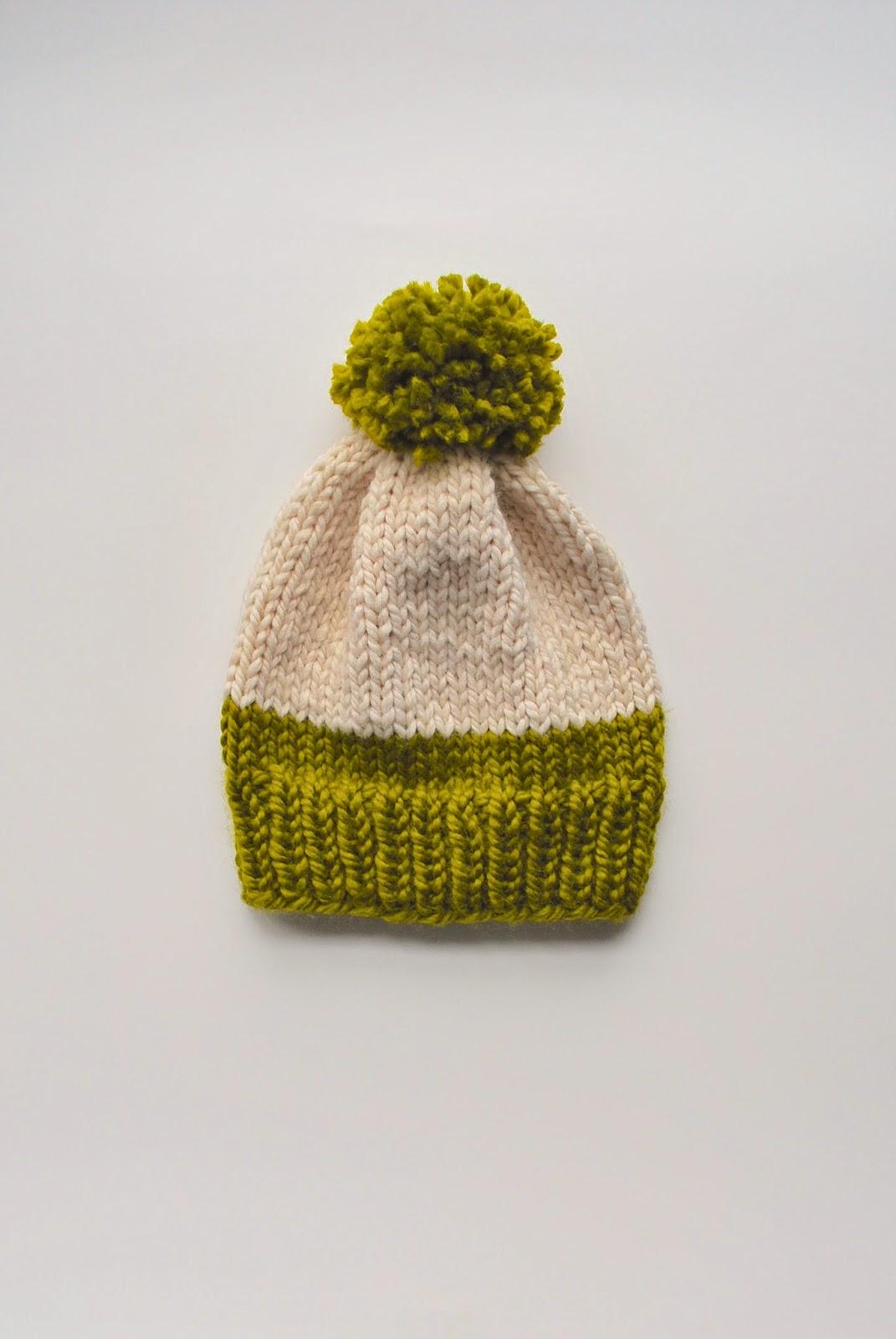 free knit slouchy pom pom hat pattern