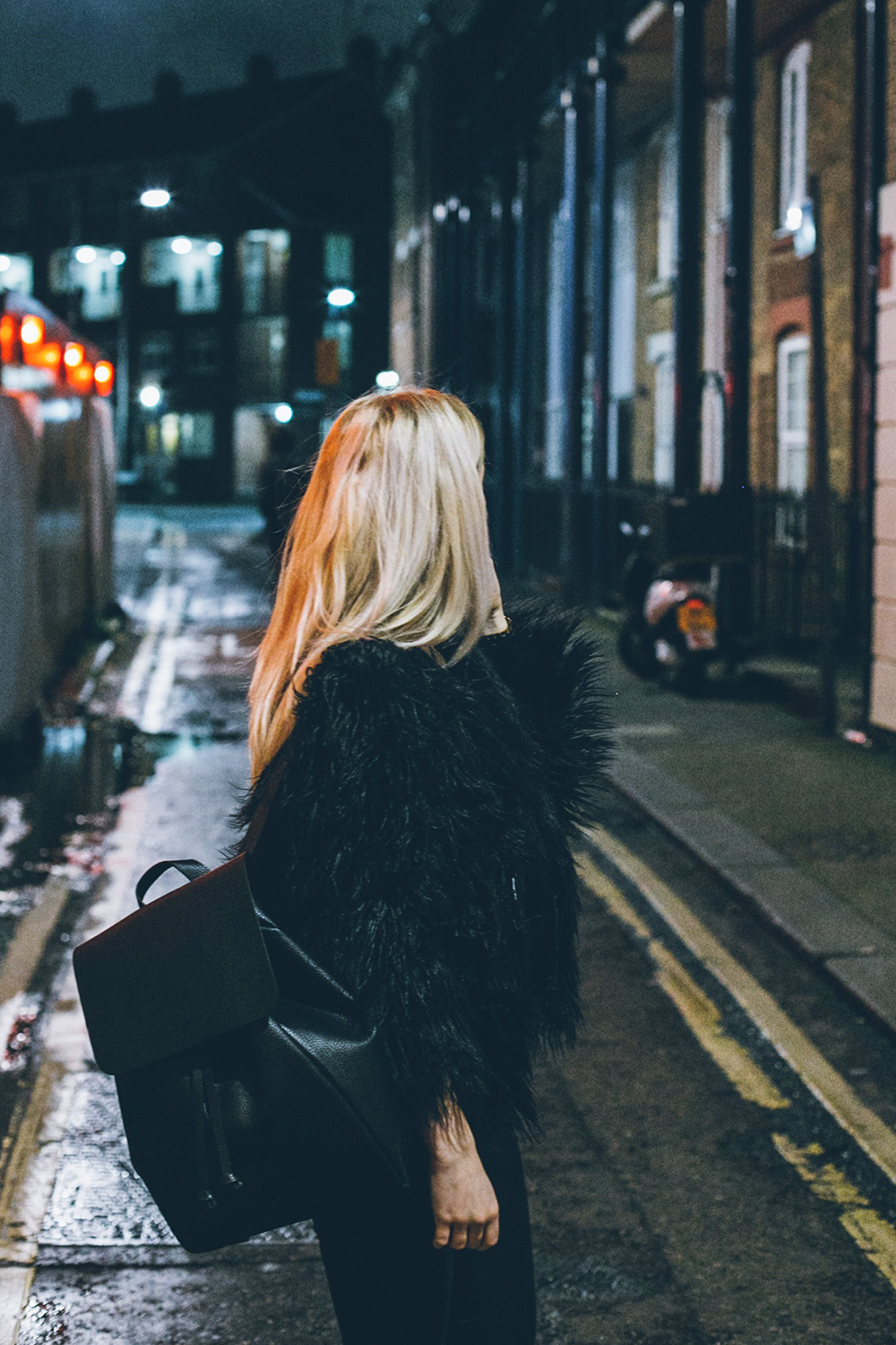 Missguided fur coat Zara backpack outfit
