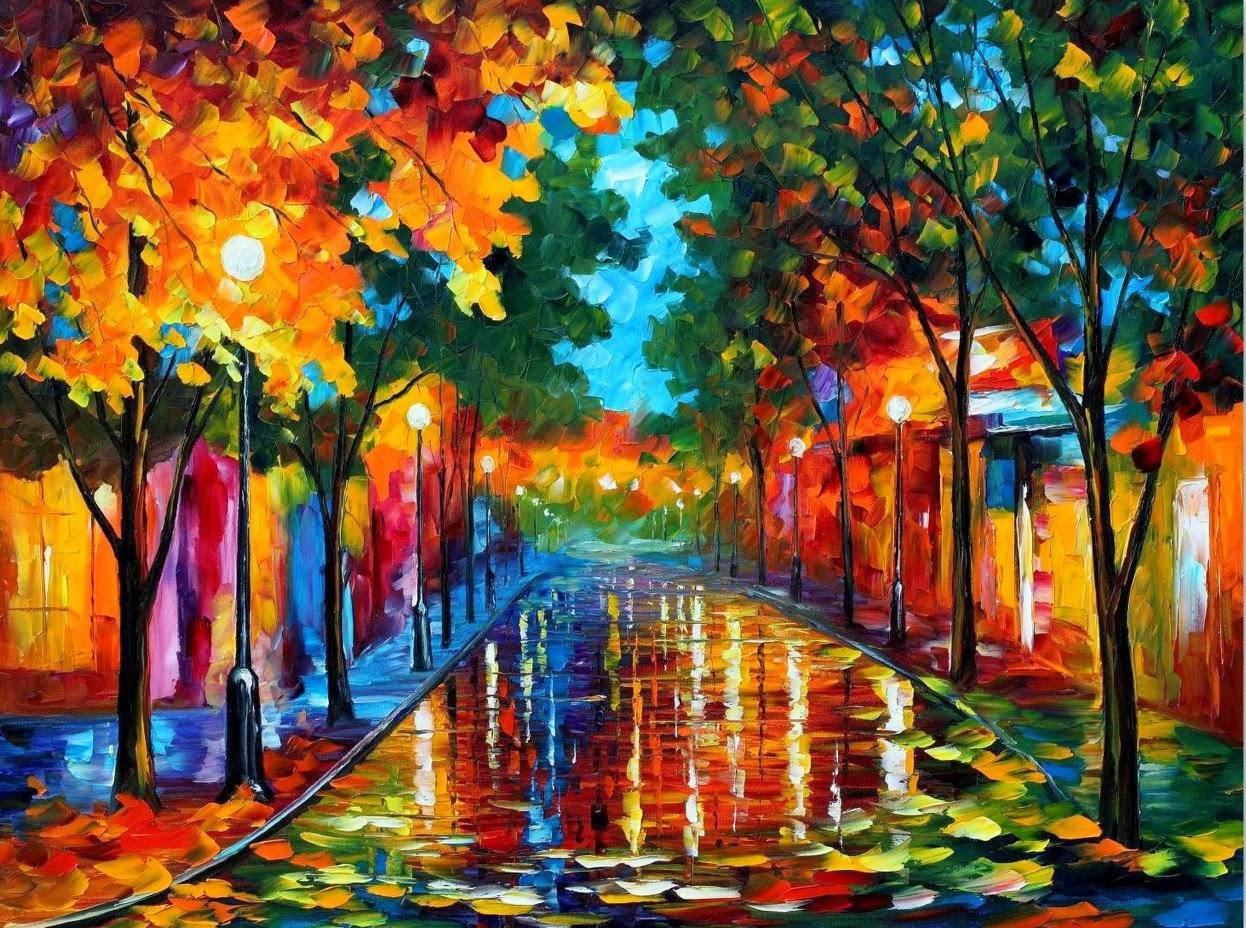 Cuadros modernos pinturas y dibujos paisajes pintados for Cuadros coloridos modernos
