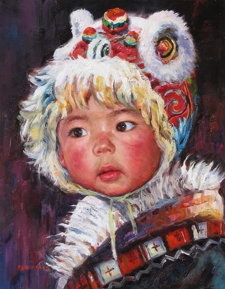 Pintura moderna y fotograf a art stica al leo retratos for Cuadros infantiles al oleo