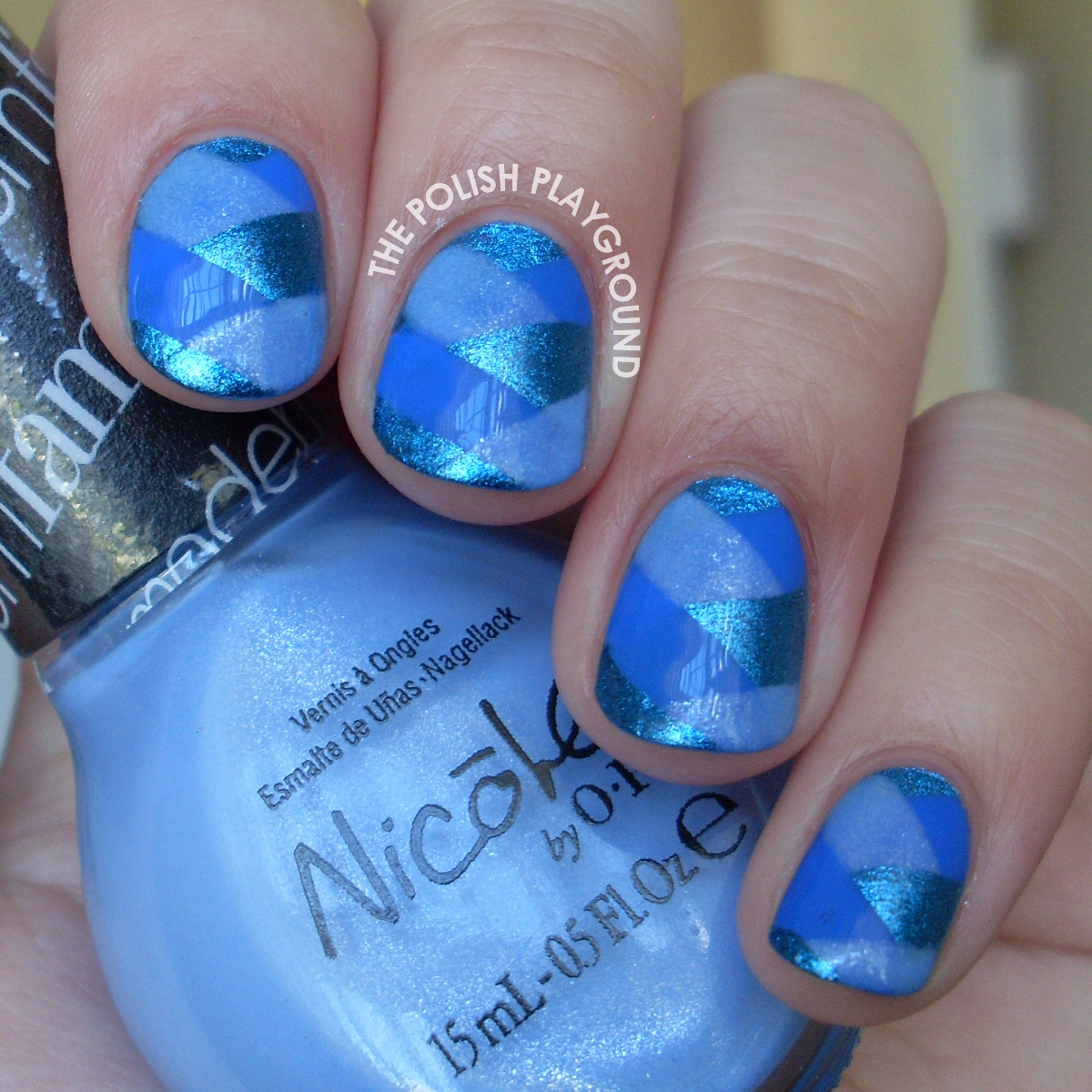Blue Fishtail Braided Nail Art