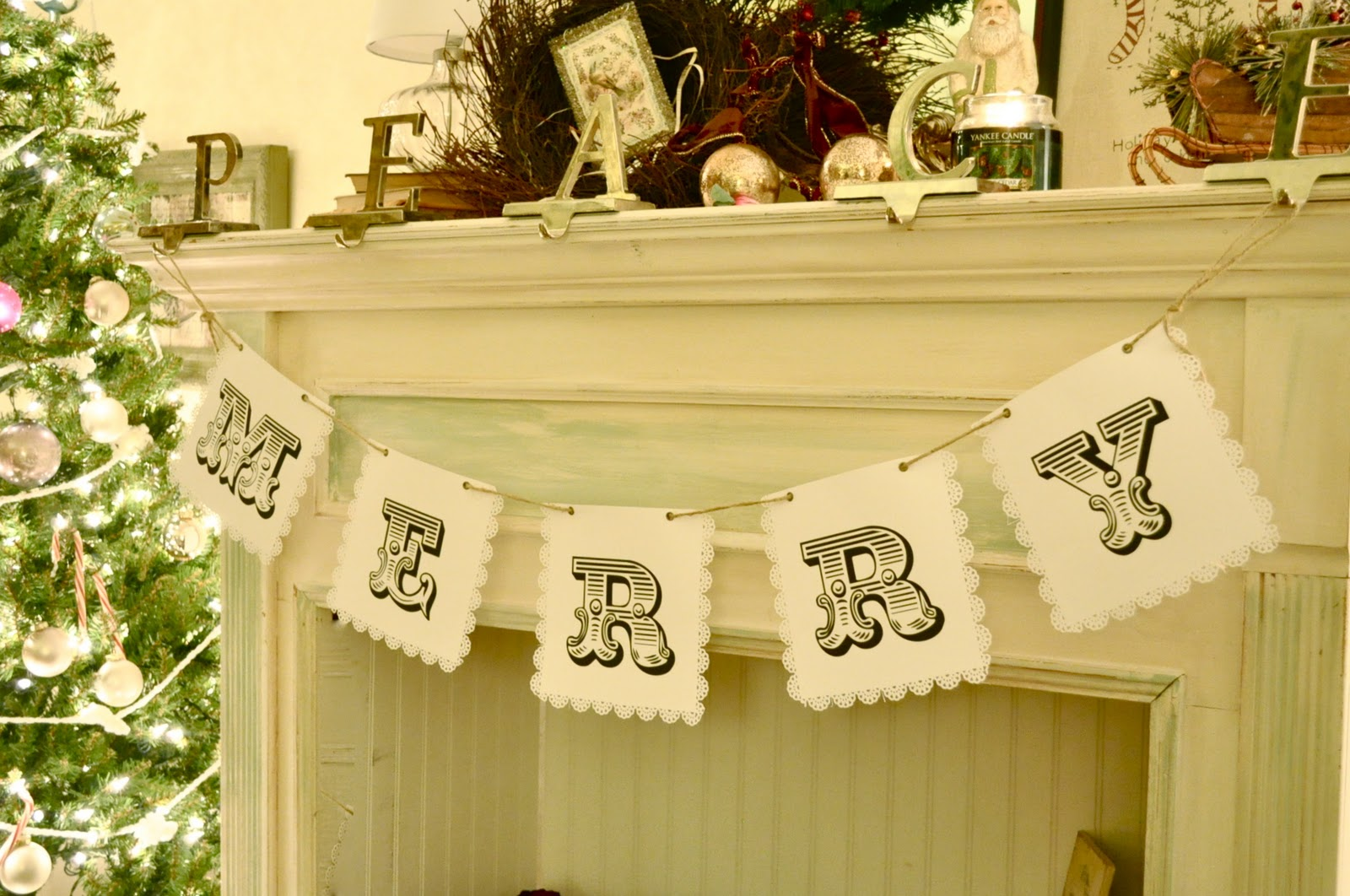 this paper banner looks pretty on a faux fireplace and is really inexpensive to make